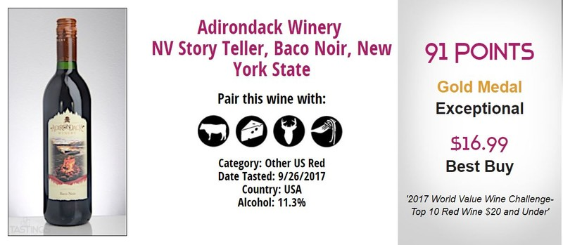 Baco Noir Gold Medal World Value Wine Challenge 2017 Adirondack Winery