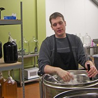 Mike Making Wine 2008