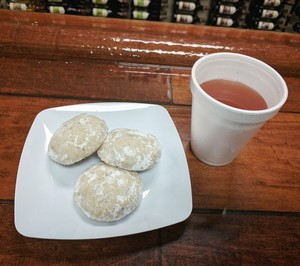 Mulled Berry Blush and Mexican Wedding Cookies at the Tasting Room