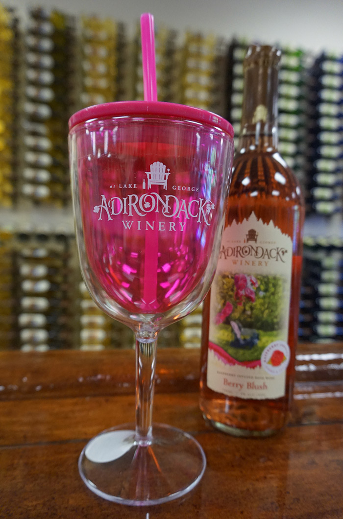 Pink Straw Sippy Wine Cup with Adirondack Winery Logo
