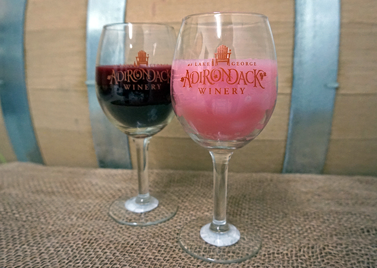 Wine Glass Candles made by Wax N Wix with Adirondack Winery wine glasses