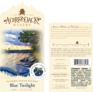 Adirondack Winery Blue Twilight Front Back Label