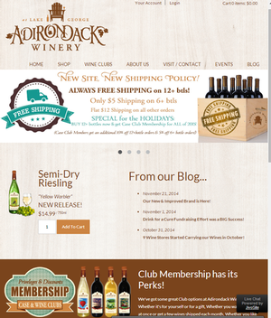Adirondack Winery New Website Screenshot