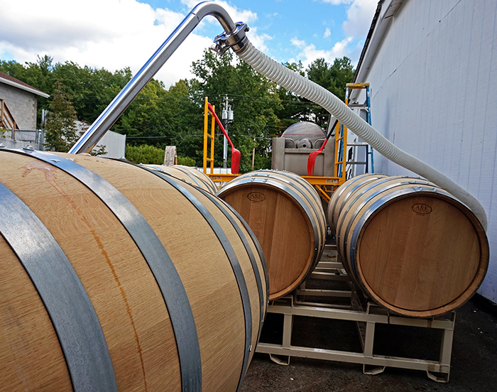 moving chardonnay into barrels