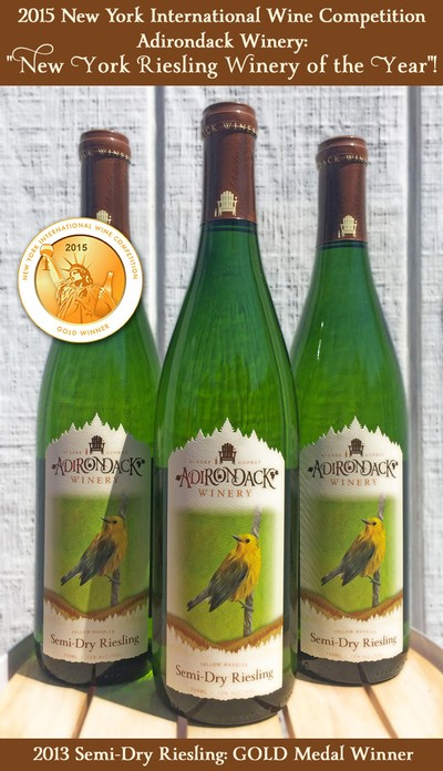 Adirondack Winery Semi Dry Riesling - GOLD  - New York Intl Wine Competition