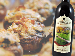 Stuffed mushrooms paired with Cabernet Franc
