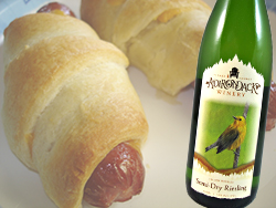 Pigs in a Blanket paired with Semi-Dry Riesling