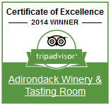 Adirondack Winery Trip Advisor Certificate of Excellence 2014