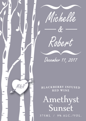 Amethyst Sunset 375ml custom label - birch trees - front