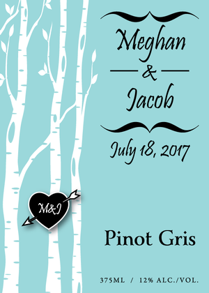 Pinot Gris 375ml custom label - birch trees - front