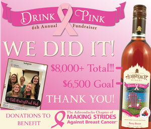We Did It! ADK Winery Raises $8,000 for Adirondacks Chapter of Making Strides Against Breast Cancer
