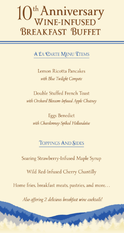 10th Anniversary Wine-Infused Breakfast Buffet Menu