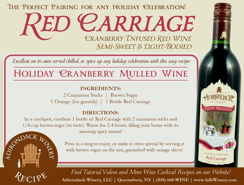 Adirondack Winery Red Carriage Cranberry Infused Mulled Wine Recipe