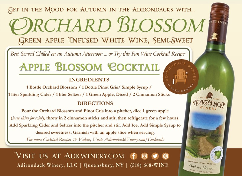 Adirondack winery Orchard Blossom Cocktail Sangria