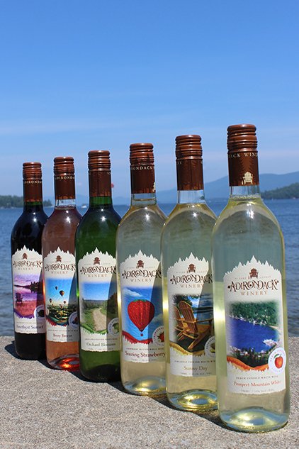Adk Winery Fruity Wines in Front of Lake George