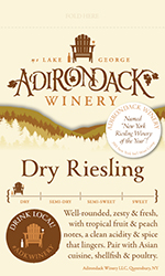 Adk Winery Dry Riesling Shelf Talker