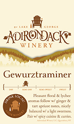 Adk Winery Gewurztraminer Shelf Talker