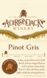 Adk Winery Pinot Gris Shelf Talker