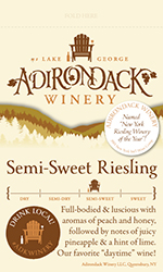 Adk Winery Semi Sweet Riesling Shelf Talker