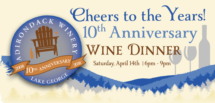 10th Anniversary wine dinner April 14th 6pm-9pm Tickets on Sale Now