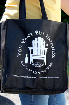 FREE Wine Tote - Can't Buy Happiness - BLACK