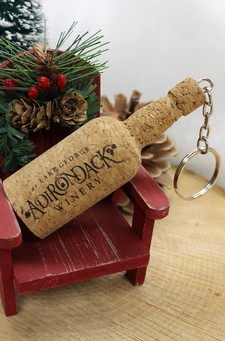 Adirondack Winery Logo Cork Wine Bottle Keychain Image