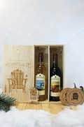 2 Bottle Wooden Gift Box Set With Pinot Noir & Pinot Gris