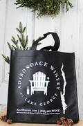 Black 6 Bottle Wine Tote Bag - Logo w/ Lake