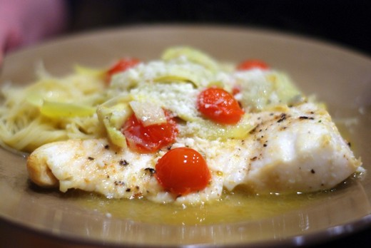 Gewurztraminer Baked Halibut with Artichokes & Tomatoes